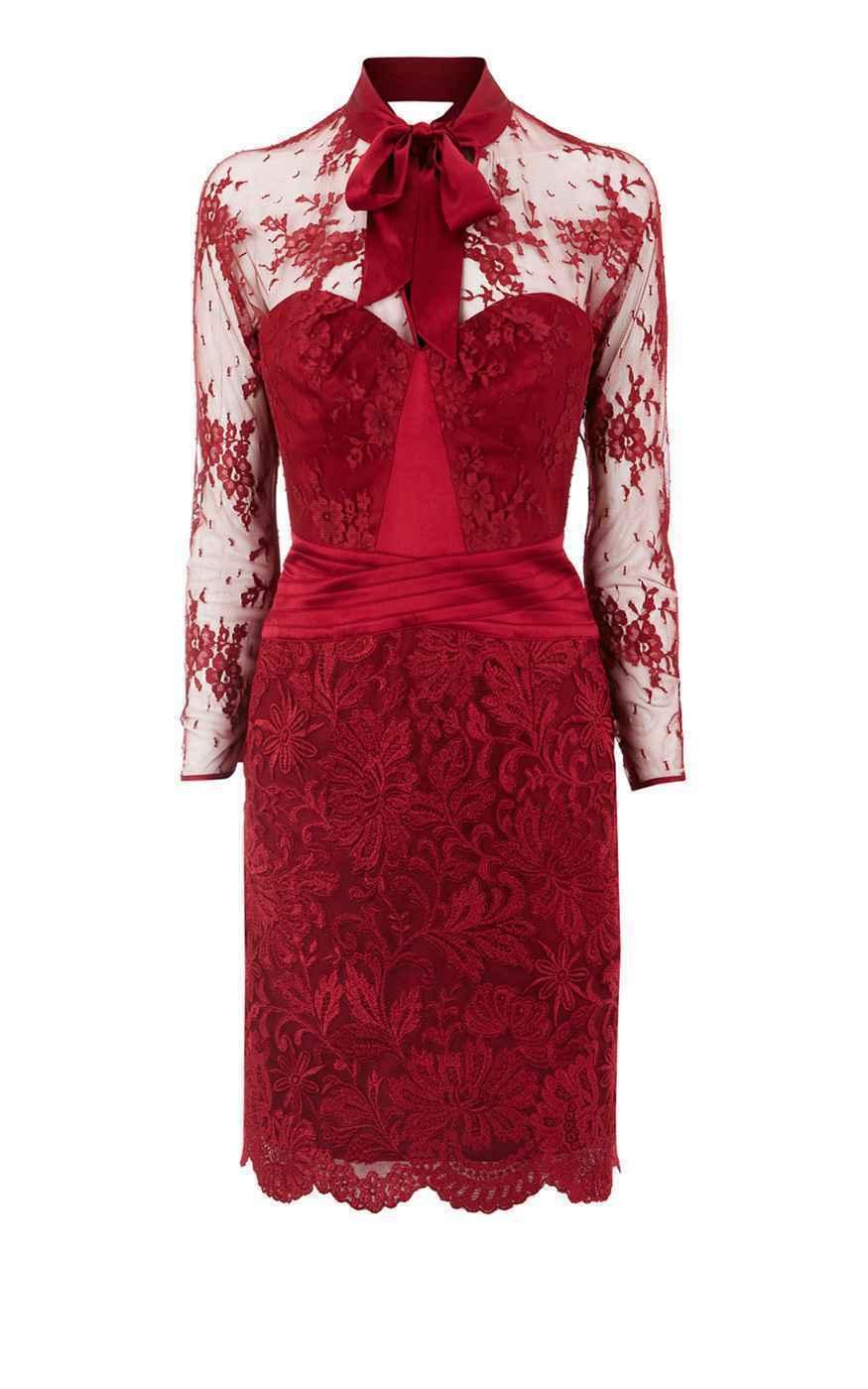 NUOVO NUOVO NUOVO  prezzo consigliato   Karen Millen Edizione Limitata Rosso Raso e Pizzo Pussy Bow Dress 8 0104b0