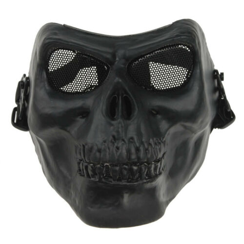 ACTICAL FACE PROTECT ARMY M02 METALLIC SKULL WARRIOR ARMOR MASK BLACK33838