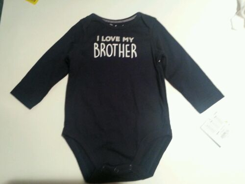 Infant Boys Jumping Beans Brand Navy Blue I Love My Brother Onesis Size  9 24M