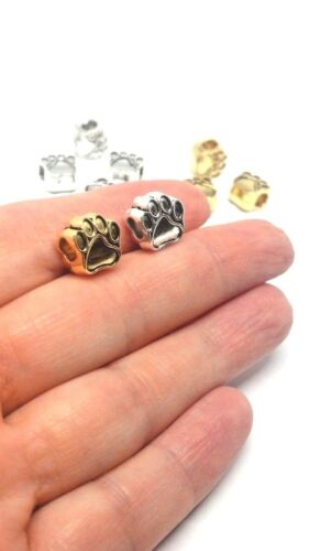 Large Hole Paw Print Charm Bead for European Charm Bracelet Ant Gold or Silver