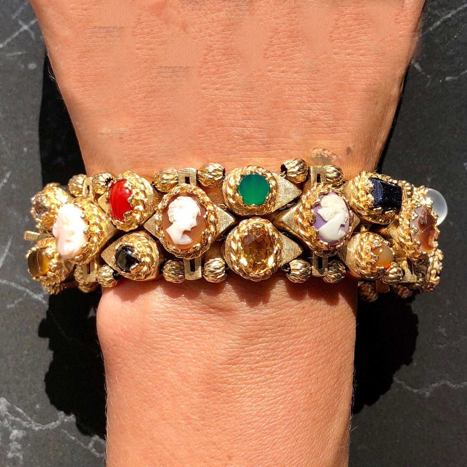 14K Yellow gold Cameo Coral Aqua Turquoise 93g HUGE Handmade Bracelet 8
