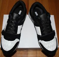 $160 Charles David Black/ White Leather Lace Up Sneaker Sz 10m Us