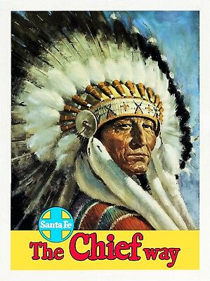 1932 Olympics Santa Fe Railroad Travel Poster 20x28