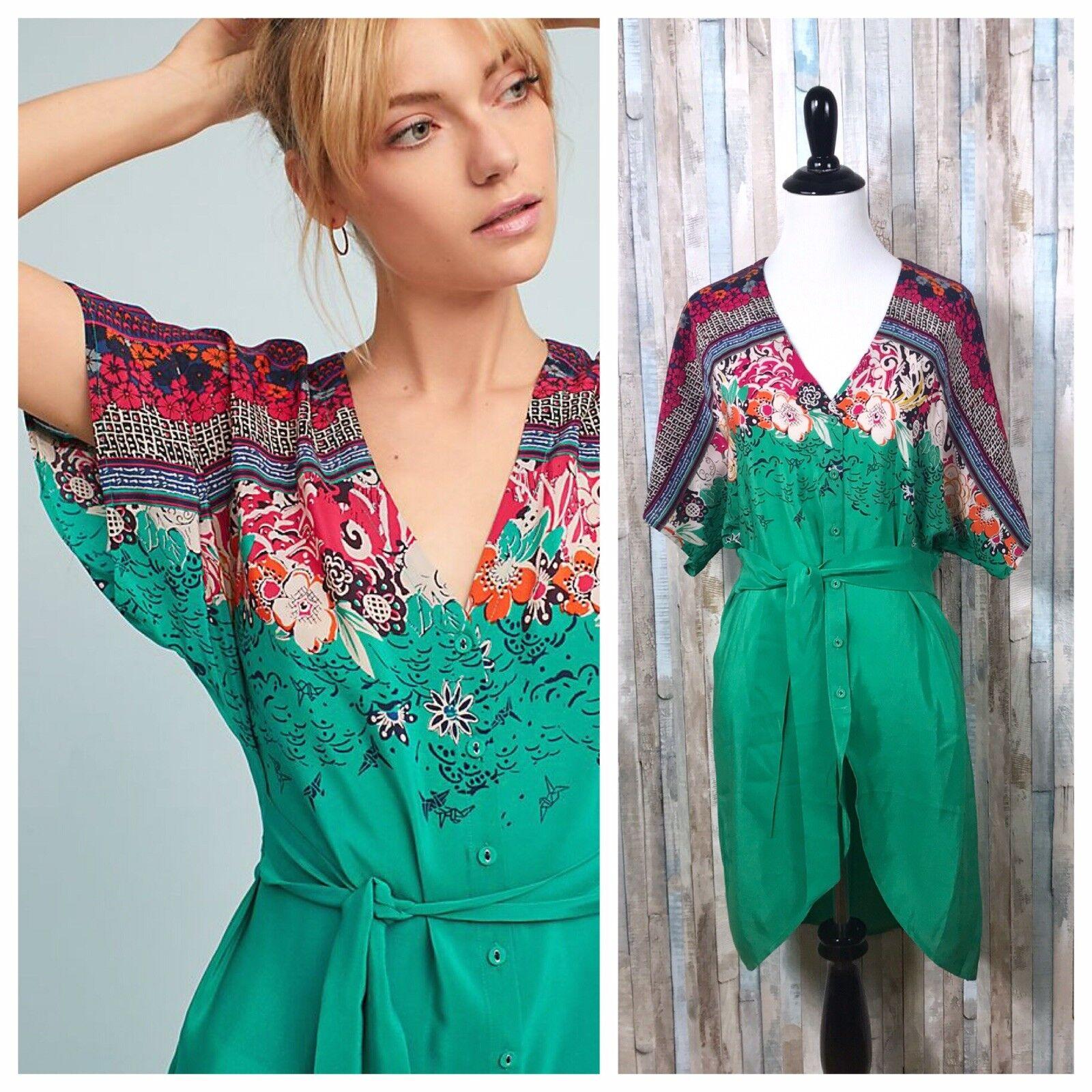 NWT Anthropologie 2 Rare Boho Takato Silk Button Front V Neck Kimono Tunic Top