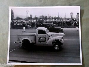 Vintage RACE CAR PHOTO CHEVROLET TRUCK HAIRY CANARY CRANE