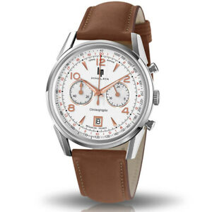 LIP Watch 671594 Men's Himalaya Chronograph Leather Strap Brown Made in France
