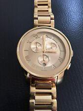 $795 Movado Bold Chronograph Swiss Watch Water Resistant Gold Tone Women's