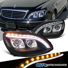 98-06 Benz W220 S320 S420 Black Dual Projector Headlights+LED Signal DRL Strip