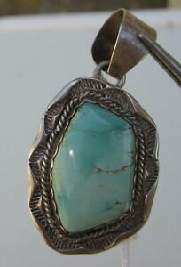 Signed-Sterling-Silver-and-Light-Blue-Turquoise-Pendant-Lots-of-Trim
