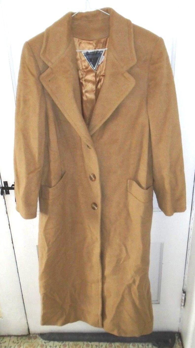 Womens tan full length camel hair coat by Marvin Richards size 8