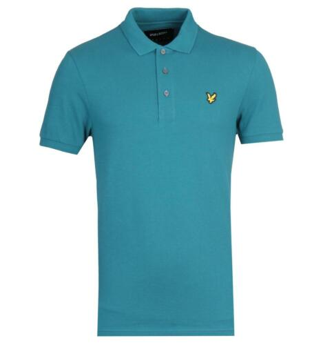 Lyle /& Scott Teal Green Short Sleeve Polo Shirt Turquoise Top Regular Fit