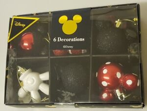 Disney-Mickey-Mouse-Boule-Rouge-Lot-de-6-Decorations-Boules-de-Noel-Primark