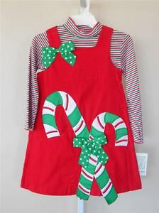 Dress sz 5 6 girl clothes christmas church party candy canes holiday