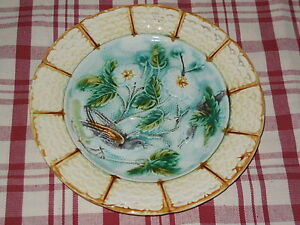 ANTIQUE-FRENCH-Majolica-PLATE-Floral-amp-birds-pattern