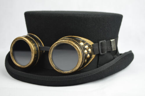 Junior Top Hat DeadMan Top Hat Classic 100/% Wool Hand Made Steampunk Goggles
