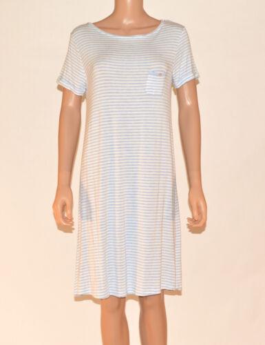 Marks and Spencer M/&S Blue Striped PJs Nightdress Nighty Nightie Size 8-20 A17