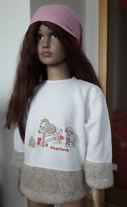 Suesser-Kinderpullover-98-Topolino-mit-Stickerei-Schaefchen-Fake-Fur