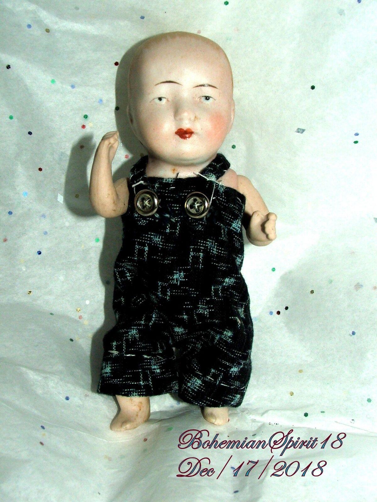 Bebé Niño Antiguas Bisque firmado Alemania P 2. haga doble articulado 6  Miniatura Muñeca