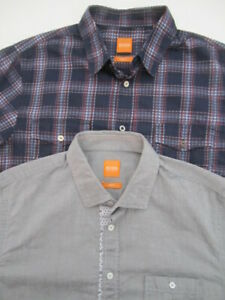 Lot-2-Mens-Medium-Hugo-Boss-Orange-Slim-Fit-button-down-long-sleeve-shirt