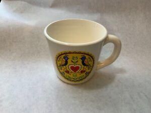Vintage-Pennsylvania-Dutch-Double-Distelfink-Cup-Mug-USA-made