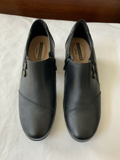 New! CLARKS Collection Soft Cushion Slip-On Black Leather Shoes Loafers Size 8