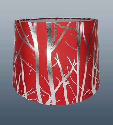 """11"""" EMPIRE DRUM SHADE IN RED/SILVER TREE EFFECT FOR CEILING & TABLE LAMP USE"""