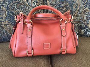 NWT-Dooney-amp-Bourke-Pebbled-Leather-Small-Satchel-Color-Burnt-Orange