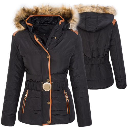 Damen Stepp Winter Jacke warm Damenjacke Kapuze Kunstfellkragen D-361 NEU