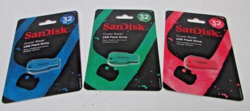 New Lot of 3 SanDisk Cruzer Blade USB Flash Drive 32 GB Pink,Blue,Green
