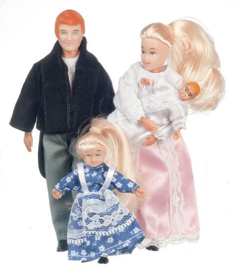 Dollhouse Miniature Doll Dad Mom Sister Baby Set Vinyl Modern 1:12 Scale
