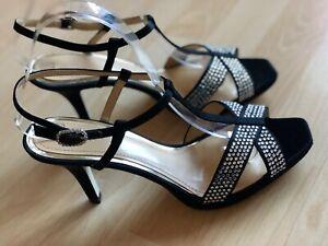 Slingbacks Size Womens Satin Stiletto 6 Diamante Clarks 5 bnwots Uk Black q8WIncwA5
