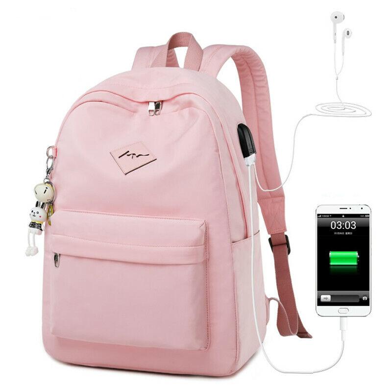 Fashion Women USB Charging Laptop Backpack for Teenage Girls