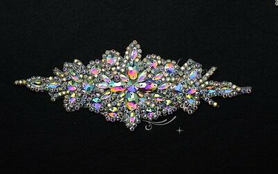 1 pcs AB crystal rhinestone costume dress applique Iron on hotfix sewing on A171