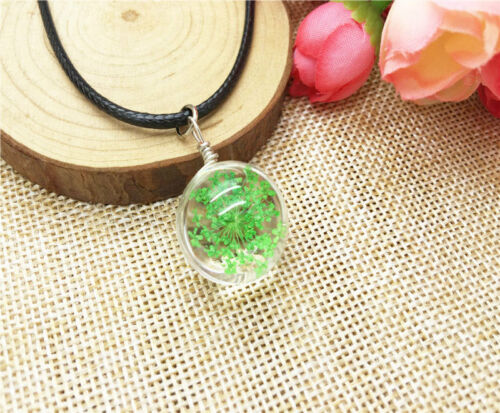 NEW 2 pcs Transparent Crystal Ball Glass Dried Flower Necklace Pendant Jewelry