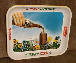 Vintage mid century 1961 Coca-Cola metal Serving Tray 'Be Really Refreshed' Ad