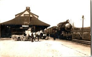 S21-1959-Vintage-RPPC-Postcard-Burdett-NY-Train-Depot-Horse-Buggy-c-1910