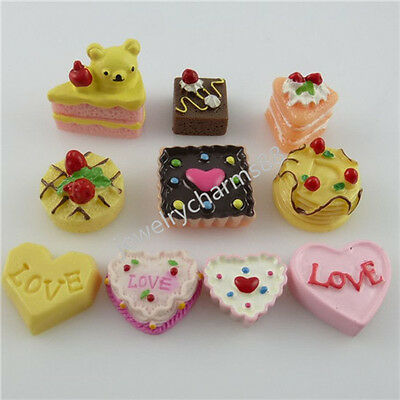 50X Cat Heart Cookie Bread Cake Fake Food Cameo Artificial Resin Home Decoration