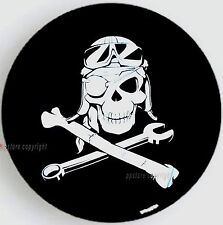 """SPARE TIRE COVER 24.4""""-26"""" w/ Mechanic Pirate Skull white image on black S-SPH-9"""