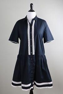 KATE-SPADE-New-York-258-Lace-Inset-Drop-Waist-Casual-Shirt-Dress-Size-XL