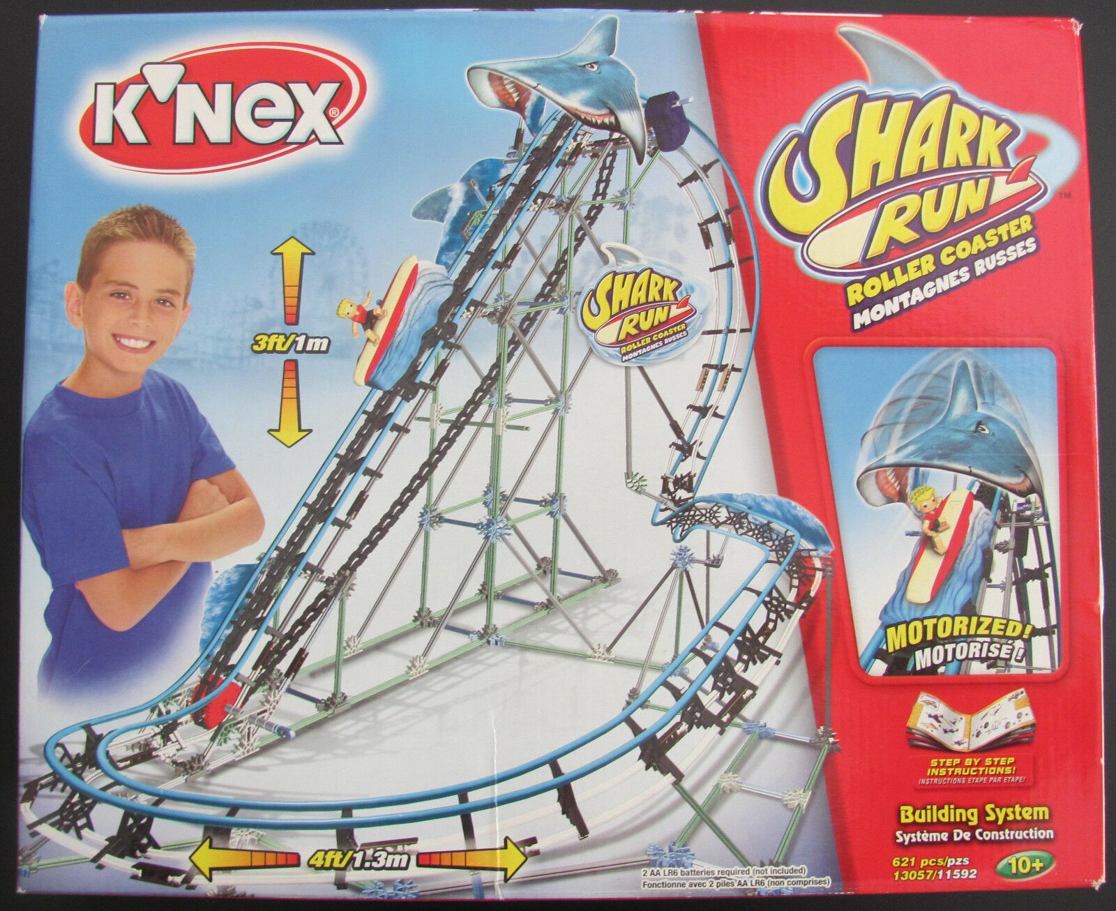 NEW & SEALED K'NEX 13057 - SHARK RUN ROLLER COASTER - 621 PIECE BUILDING SYSTEM