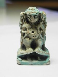 Large Faience Amulet Of Pataikos Zurqieh 400-300 B.c Ancient Egypt af951