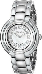 3fcf05d0140a Image is loading Escada-E2435011-Ivory-MOP-Silver-Dial-Stainless-Steel-
