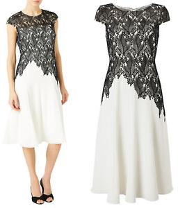 Jacques-Vert-NEW-Ivory-amp-Black-Leaf-Lace-Crepe-Shift-Midi-Dress-Sizes-8-to-24