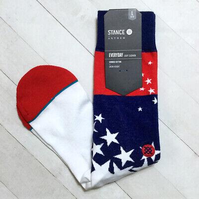 Stance Anthem Crew Socks Stars Stripes Mens L 9-12 Arch Support Patriotic Flag