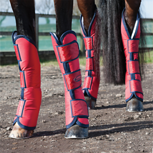 Weatherbeeta Wide Tab Long Horse Travel Boots - Red Navy
