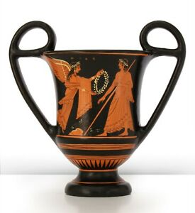 Ancient Greek Museum Replica - Red-Figure Vase with Nike and Zeus Pottery Greece