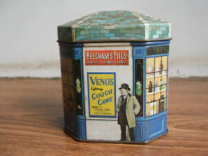 Old-vintage-Medicine-advertising-confectionery-tin-box-of-80-039-s-made-in-England