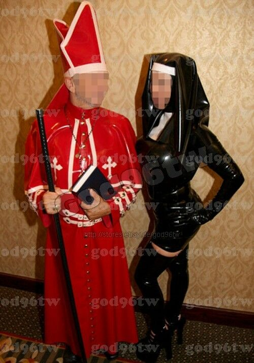 100% Latex Rubber Gummi Priest Catsuit Uniform Suit with Trim Wear Zentai Deluxe
