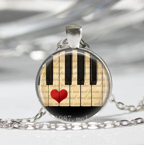 Nouveau charme vintage cabochon verre Collier argent pendentifs ( Piano Love Music )