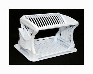 Plastic-Dish-Drainer-Rack-2-Layer-Tier-Utensil-Cutlery-Draining-Holder-White